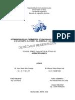 """Optimizacion de los parámetros operacionales del reactor R-3601 A de la planta Olefinas II del complejo """"Ana Maria Campos"""""""