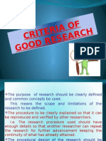 Criteria of Good Research & Problems Encountered by Researchers