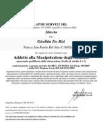 attestato HACCP preso il 9-9-2015