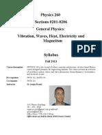 PHYS 260 0201-0206 Syllabus Fall 2013 UMD