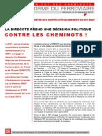 UNE DÉCISION POLITIQUE CONTRE LES CHEMINOTS !