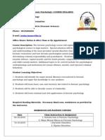Forensic Psychology Course Syllabus