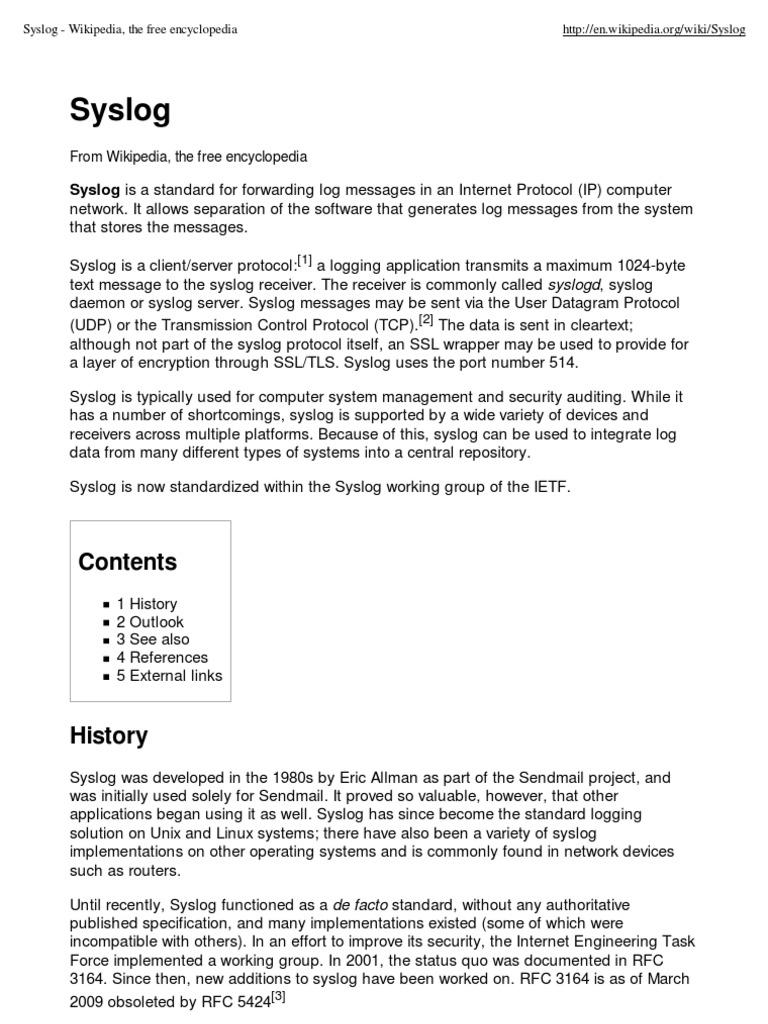 Syslog - Wikipedia, The Free Encyclopedia | Internet