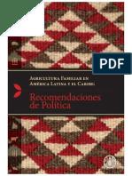 Agricultura familiar en ALC - Recomendaciones de Política