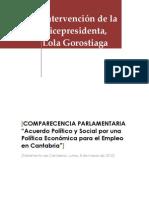 Comparecencia Vicepresidenta / Acuerdo Agentes Sociales