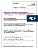 Plain English Guidelines at a Glance