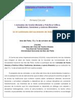 PRIMERA CIRCULAR I Jornadas de Teoría Literaria y Práctica Crítica 2015 1
