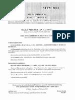 STPM PHYSICS 2003 PAPER 1
