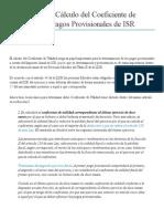 Cálculo Del Coeficiente de Utilidad Para Pagos Provisionales de ISR