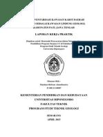 Laporan Kerja Praktik Studi Inventarisasi Kawasan Karst Daerah Sukolilo Sebagai Kawasan Lindung Geologi