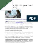 Tabla de Valores Para Beta HCG inmuno