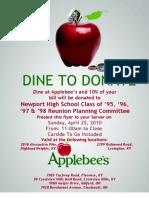 NHS April 25 Dine to Donate Flyer