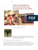 Open Letter Calls for International Judicial Process for War Crimes and Crimes Against Humanity in Sri Lanka