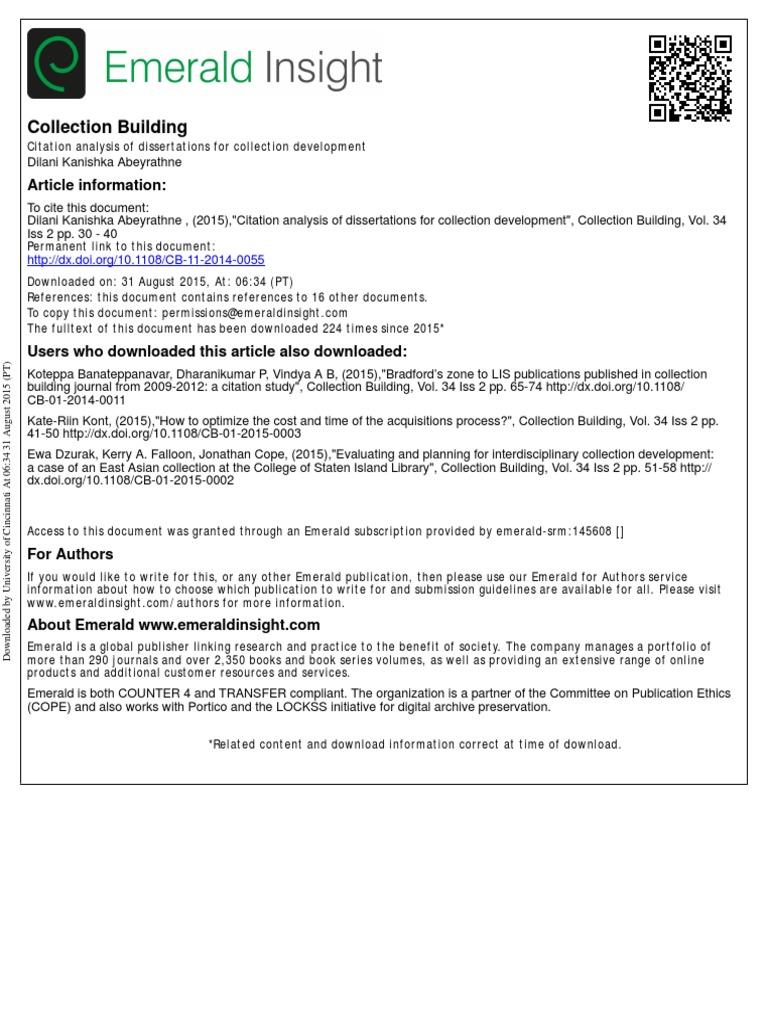 Dissertation citation analysis help with writing a dissertation by derek swetnam