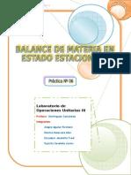 Balance de Materia en Estado Estacionario