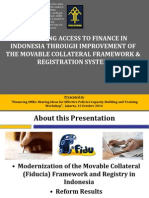Optimizing Access to Finance in Indonesia Through Improvement of the Movable Collateral Framework and Registration System