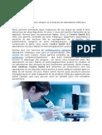 Services de prélèvement sanguin et d'analyse de laboratoire médicaux