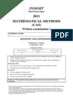 2011 Insight Maths Methods CAS Units 34 Exam 1