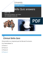 Clinical Skills Quiz Answers 2015