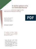 Clasificacion De Reactivos Químicos En Los Laboratorios