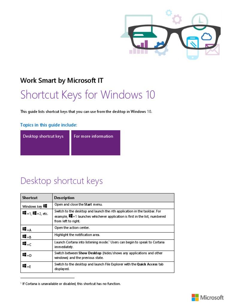 Shortcut Keys for Windows 10 | Windows 10 | Personal Computers