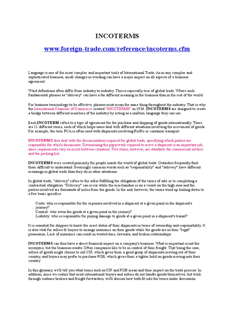 INCOTERMS Global Business Organization – Financial Agreement Between Two Parties