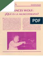 Frances Wolf ¿Que es la musicoterapia?