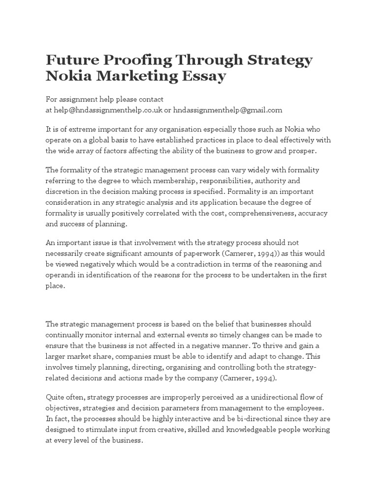 Fifth Business Essays  High School Essays Samples also Essays About English Future Proofing Through Strategy Nokia Marketing Essay  Life After High School Essay