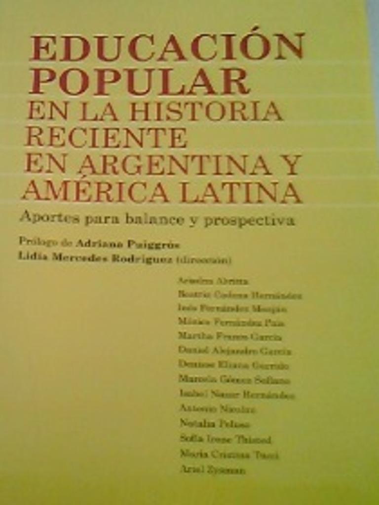 Educacion popular en la Historia Reciente en Argentina y ...