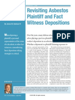 Revisiting Asbestos Plaintiff and Fact Witness Depositions