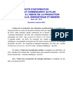 Note d'Information Relative à l'Indice de La Production Industrielle