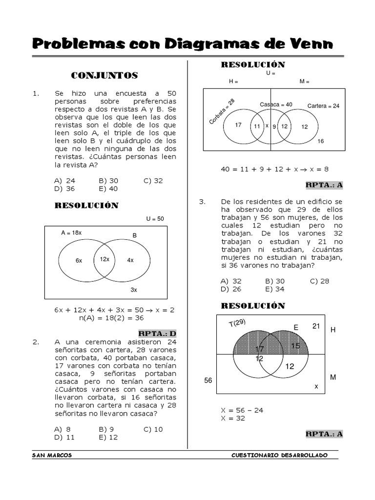 Problemas con diagramas de venn ejercicios resueltos ccuart Images
