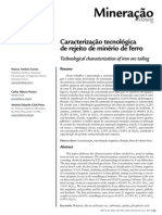 Caracterização Tecnológica de Rejeito de Minério de Ferro