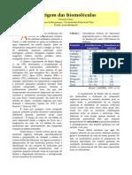 Artigo - Origem Das Biomoléculas