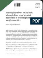 VASCONCELOS. Francisco Thiago. a Sociologia Da Violência Em São Paulo - A Formação de Um Campo Em Meio à Transição Democrática