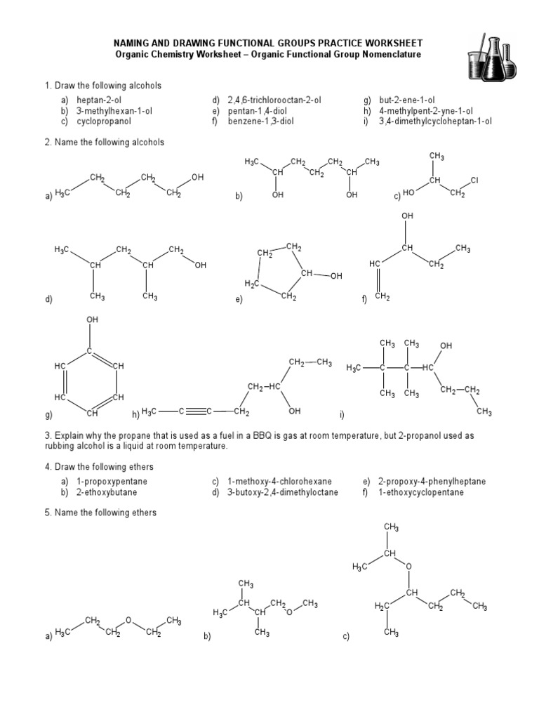 Worksheets Organic Nomenclature Worksheet naming alcohols worksheet switchconf 15 and drawing functional groups practice worksheet