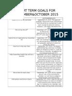 short term goals for september2015