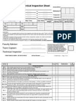 Baja SAE Tech Inspection Sheet 2014-2015