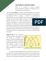 Factores Que Modifican La Actividad Enzimática