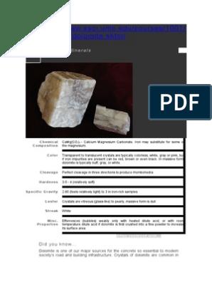 Calcite Dolomite Aragonite Calcite Minerals
