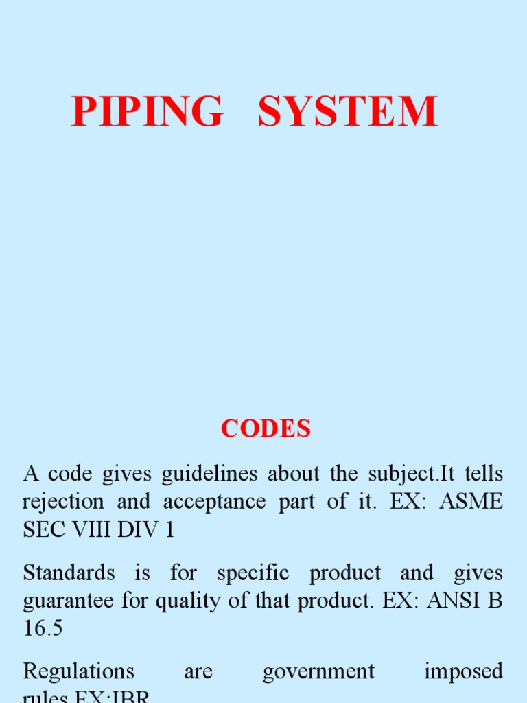 Piping Ppt Pipe Fluid Conveyance Heat Treating Layout Rules