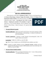 Notification Bose Institute RA Sr Technical Asst Lab Attendant Posts