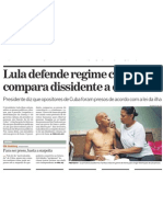 Lula compara dissidentes cubanos a bandidos
