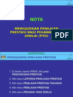 Nota Kemasukan Penilaian Prestasi PYD