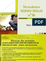 Newsletter Soho Solo n°30 Mars-2010