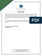 Communiqué  de la FSC