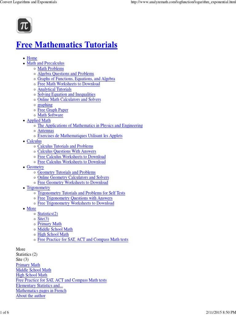 Convert Logarithms and Exponentials.pdf | Logarithm | Exponential ...