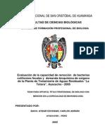 Evaluación de la capacidad de remoción  de bacterias coliformes fecales y  demanda bioquímica de oxígeno