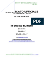 Comunicato n. 3 del 16.09.2015