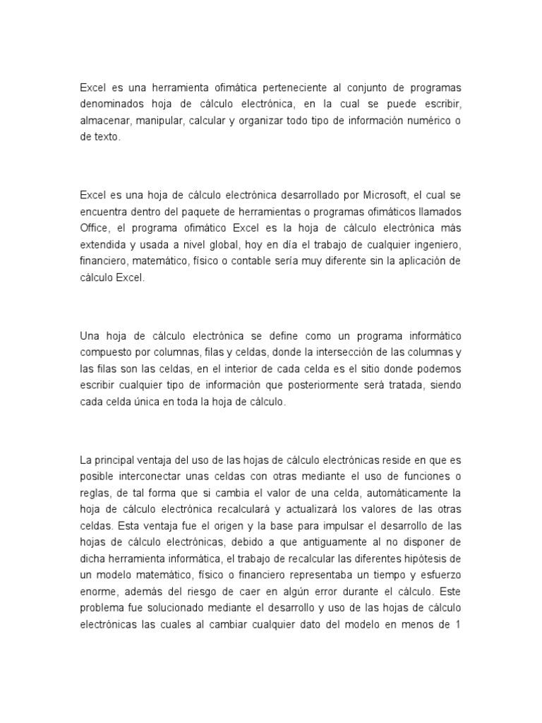 Excel Es Una Herramienta Ofimática Perteneciente Al Conjunto de ...